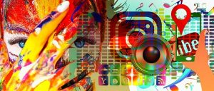 Abstract combination of a painted face with social media icons.