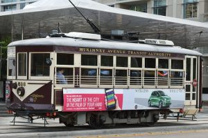 Advertisement of some local business on the trolley.