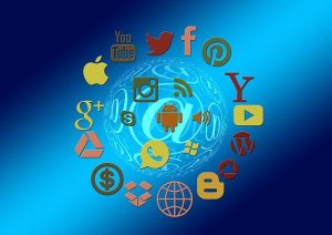 Popular icons of Google, Yahoo, and other major players on the internet.