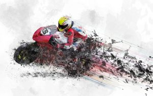 Partially abstract photo of a moto racer at full speed.