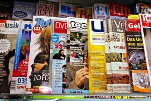 Magazines in the local store.