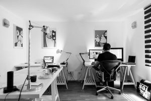 A man working in his home office.