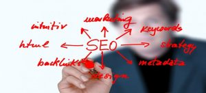 A man writes how to optimize your Google My Business listing with SEO..