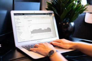 Laptop showing a graph