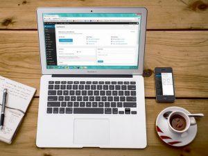 Wordpress open on a laptop