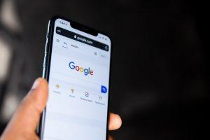 Phone showing Google